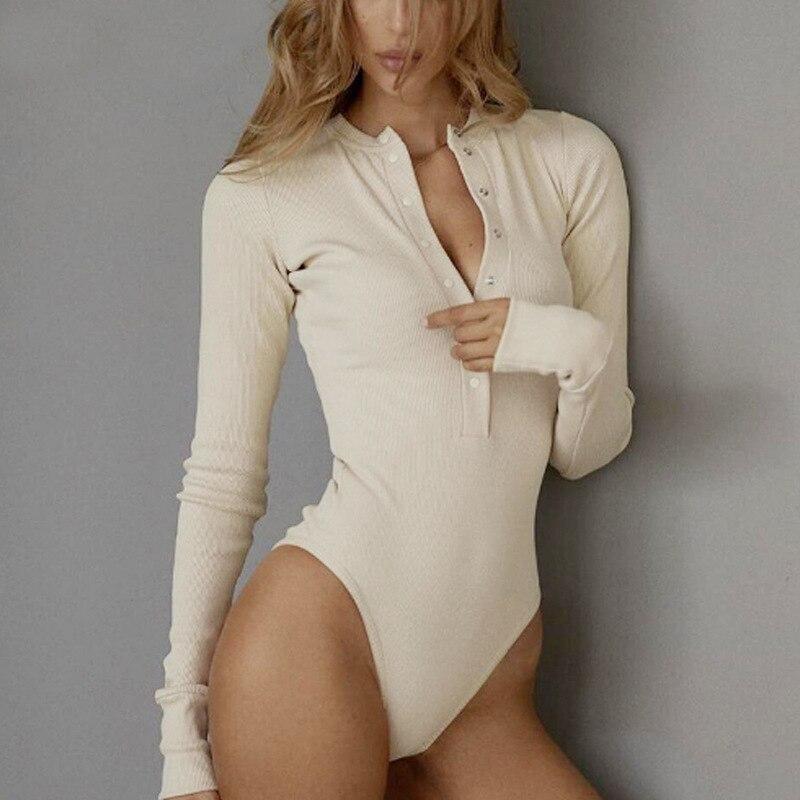 Sexy Long Sleeve Bodysuit Women Body Femme 2020 Spring Autumn Romper White Black Jumpsuit Body Suits For Women Tops