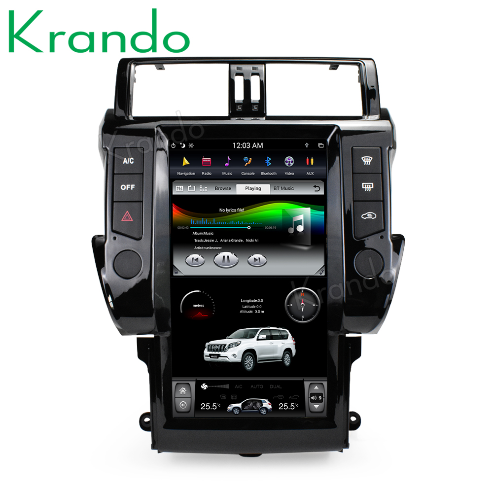 "Top Krando Android 8.1 13.6"" Vertical screen car radio player gps for Toyota Prado 150 2014-2017 gps navigation multimedia system 4"