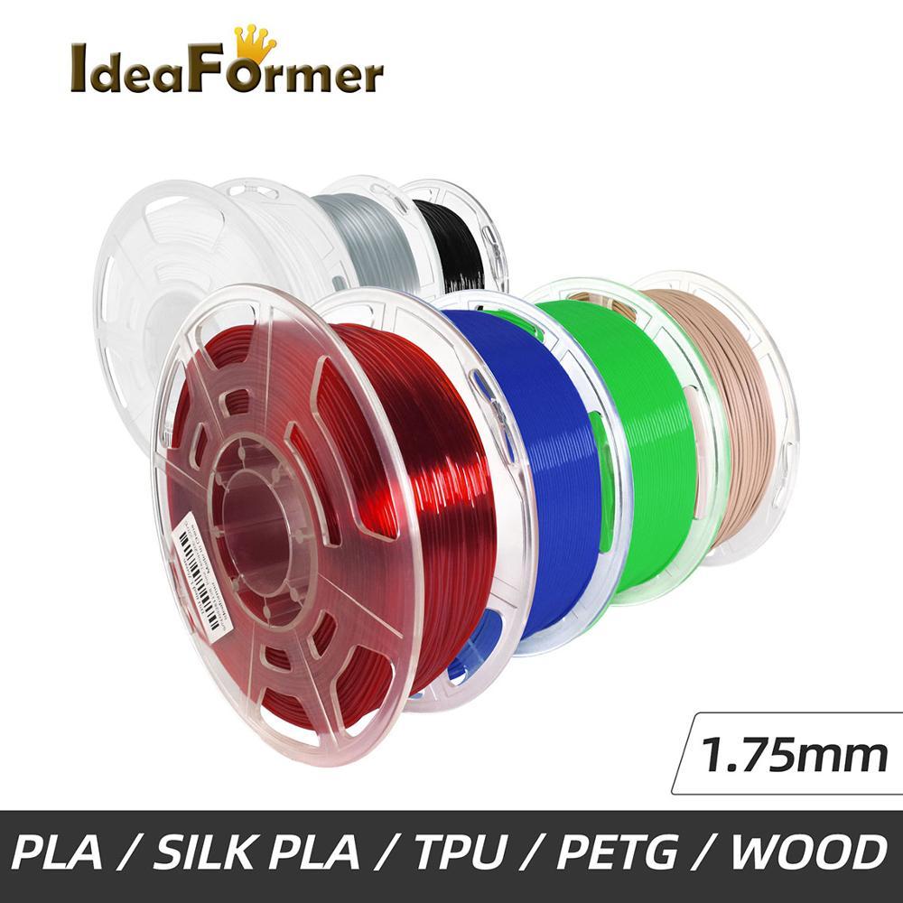 Filamento da impressora de ideaformer 3d 1.75mm 0.8/1kg pla/silkpla/petg/tpu 3d transporte plástico do filamento da impressão do armazém no exterior