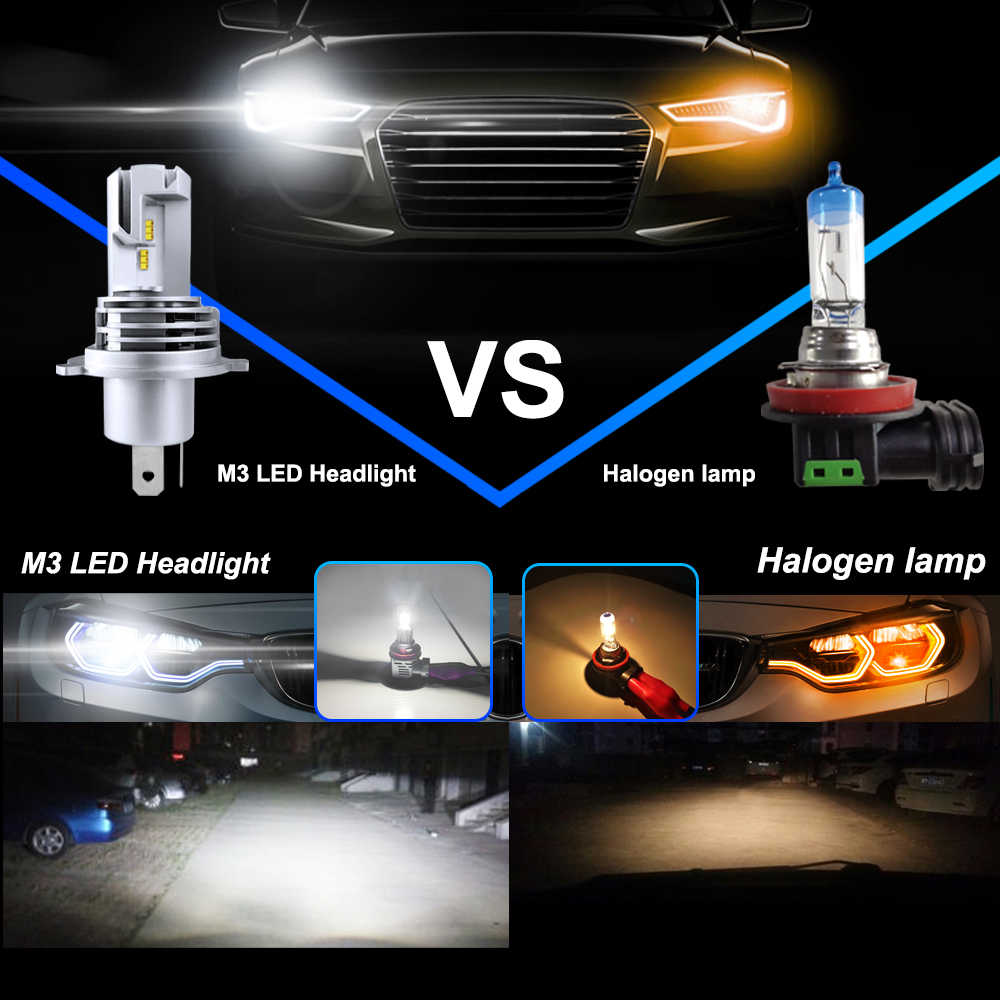 2pcsMINI tamaño ZES CHIPS 9005 HB3 M3 LED faro pequeño 1:1 línea de corte claro haz Turbo ventilador 60 lámparas luminosas W-LM 6K