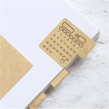 48PCS-2019 Calendars Stickers,Universal Handwriting Brown Kraft Paper Monthly Adhesive Labels forAppointment/Planner