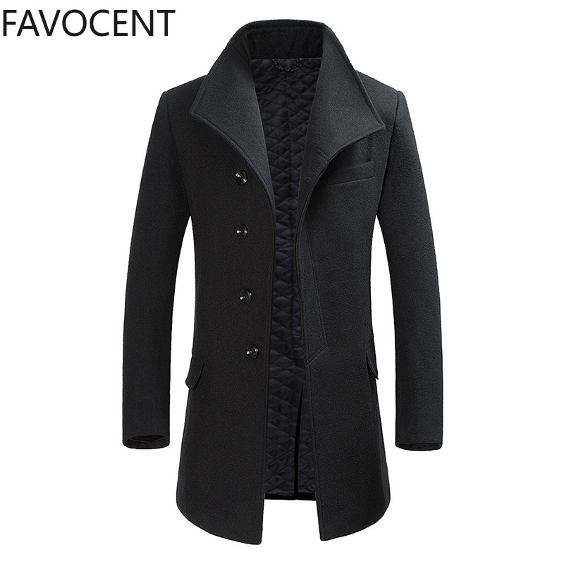 High Quality Wool Coat Mens Long Jacket Thicken Coats Man Winter Woolen Male Overcoat Fashion Mens Trench Coat Casual Jacket