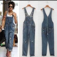 Повседневные Комбинезоны, джинсы для женщин, свободные, размера плюс, нагрудник, брюки для женщин, с дырками, с карманами, на пуговицах, уличная одежда, джинсы, синие, Классические Комбинезоны для офисных леди