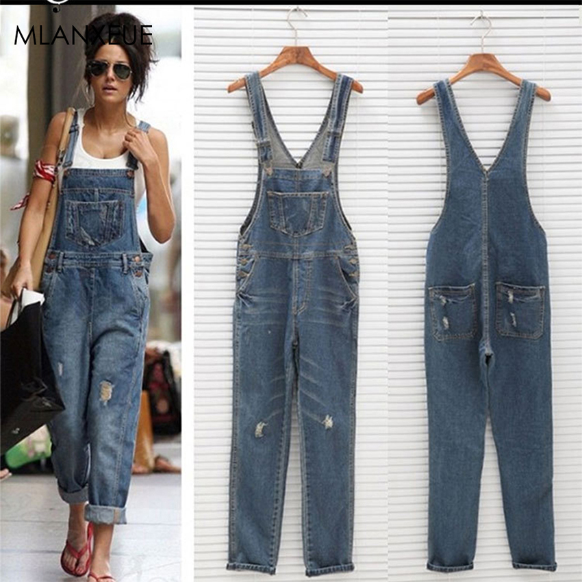 Casual Overalls Jeans Women Loose Plus Size Bib Pant Women Hole Pocket Button Streetwear Jeans Blue Classic Overalls Office Lady