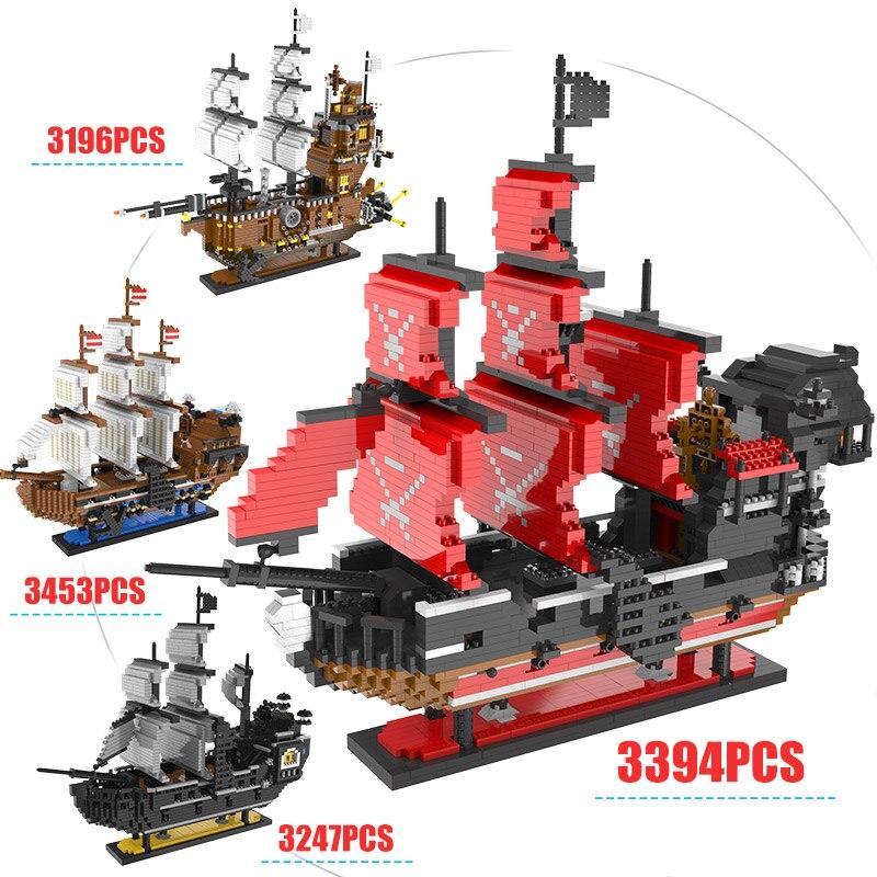 Caraïbes Pirate voile noir perle bateau bateau Mini blocs reine Annes 3D modèle bricolage construction diamant blocs briques enfants jouets