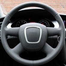 Refitting chrome steering wheel trim sticker emblems decorative frame cover sequins sticker accessories for Audi A4 A5 A6 Q5 Q7