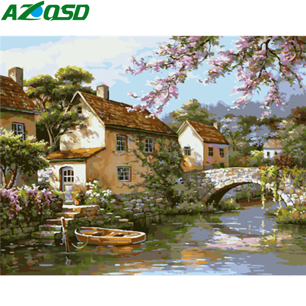 AZQSD DIY Paint By Number Canvas Painting Kits Town Unframe Handicraft Coloring By Numbers Canvas Scenery Home Decoration