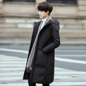 Image 5 - 2020 New Long Down Coat Men Coat Winter Down Jacket Warm Thicken Hooded Overcoat Comfortable Male Solid Color