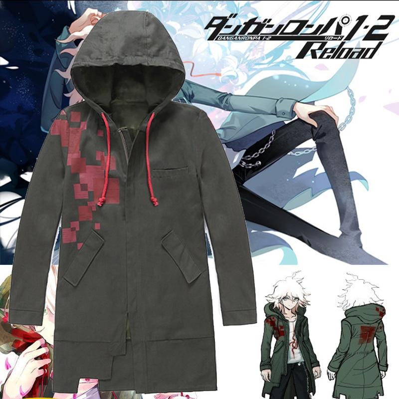 Super Danganronpa 2 Komaeda Nagito Jacket Hoodies Army Green Color Coat Cosplay Costume Cos Trench