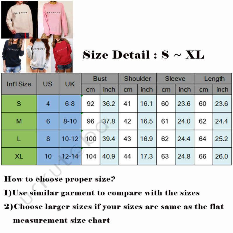 Vrouwen Vrienden Afdrukken O-hals Lange Mouw Sweatshirt Hoody Casual Dames Trui Jumper T-shirt Tops