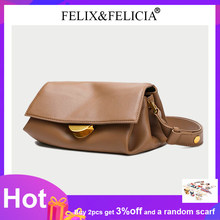 FELIX&FELICIA High Quality Brand Genuine Leather Shoulder Bags Designer Luxury Fashion Women Crossbody Retro Messenger Flap Bag