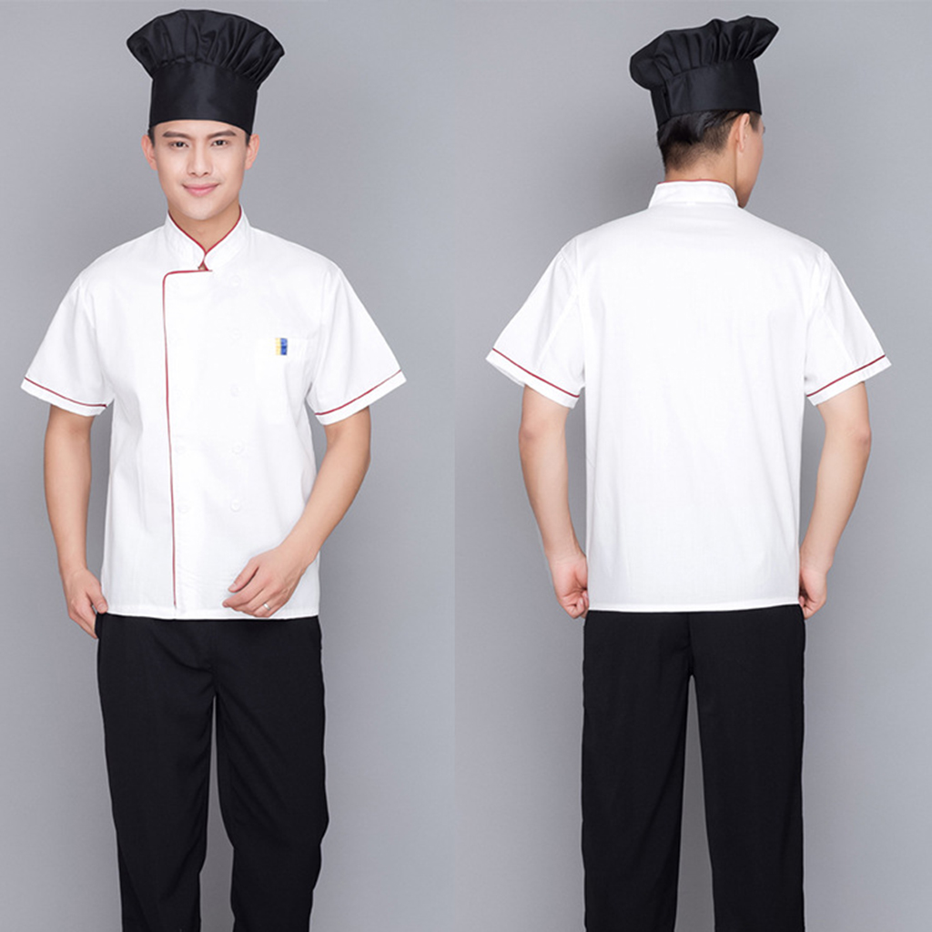 Unisex Double Breasted Long Sleeve Chef Jacket Hotel Uniform Kitchen Chef  Bakery Food Service Short Sleeve Breathable Cook Wear