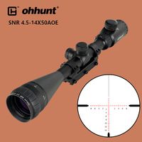 ohhunt 4.5 14x50 AOE Hunting Riflescope Red Glass Etched Cross Reticle Tactical Optical Sights Scope with One Piece Mount Rings