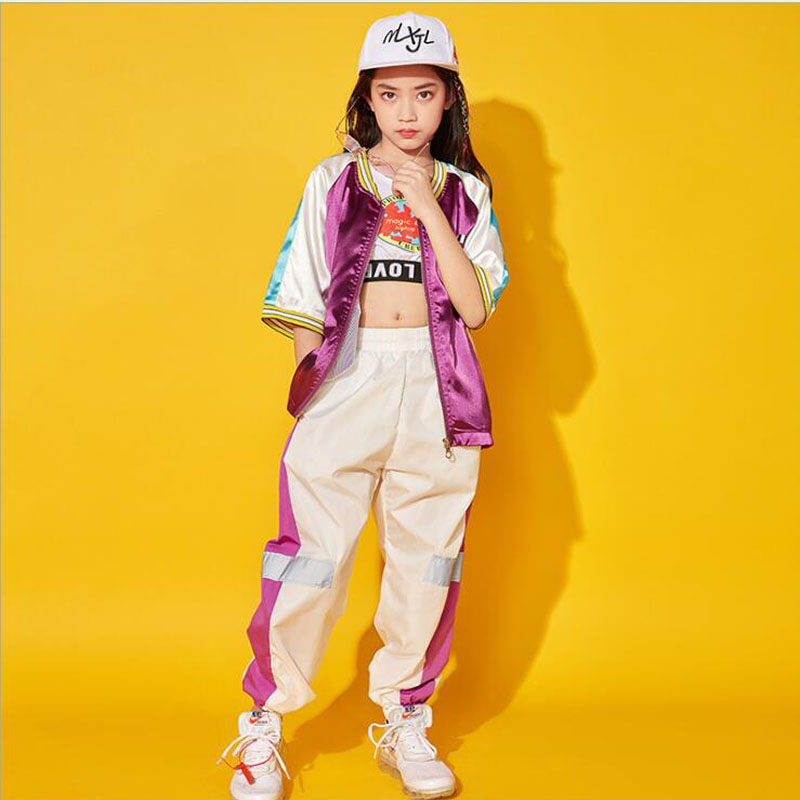 Kids Concert Hip Hop Clothing Outfits Sequined Jacket Tops Pants For Girls Boys Dancing Costume Ballroom Clothes Wear Outfits