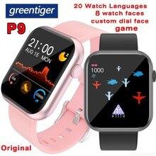 Greentiger P9 חכם שעון מלא מגע Custom חיוג משחק קצב לב לחץ דם חמצן צג IP67 עמיד למים Smartwatch PK P8