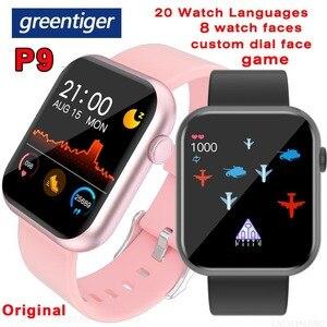 Image 1 - Greentiger P9 חכם שעון מלא מגע Custom חיוג משחק קצב לב לחץ דם חמצן צג IP67 עמיד למים Smartwatch PK P8