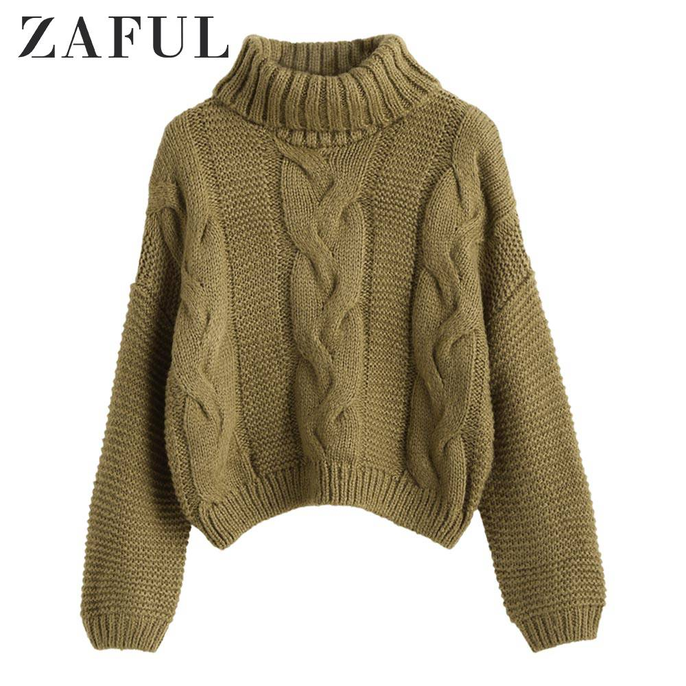 SUPER DEAL) ZAFUL Turtleneck Chunky Cable Knitted Sweater