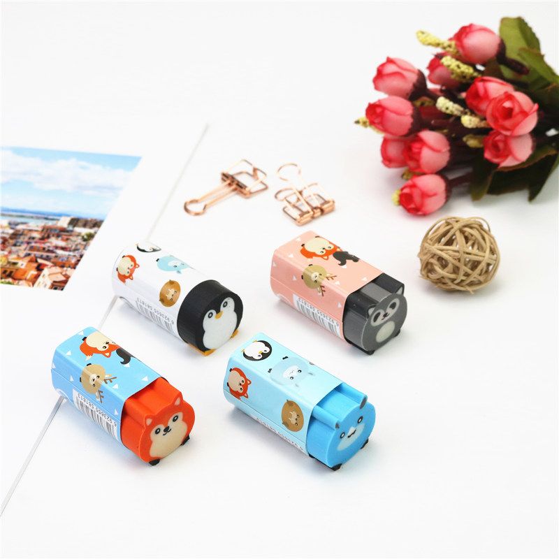 Cute Animal Large Eraser Penguin Raccoon Puppy Pencil Erasers School Student Correction Stationery