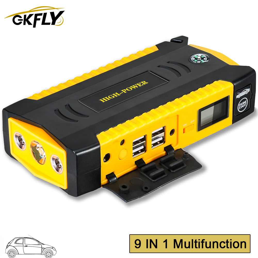 GKFLY High Capacity Car Jump Starter Power Bank 600A 12V Portable Car Starter Starting Device Booster Starter With Cables LED