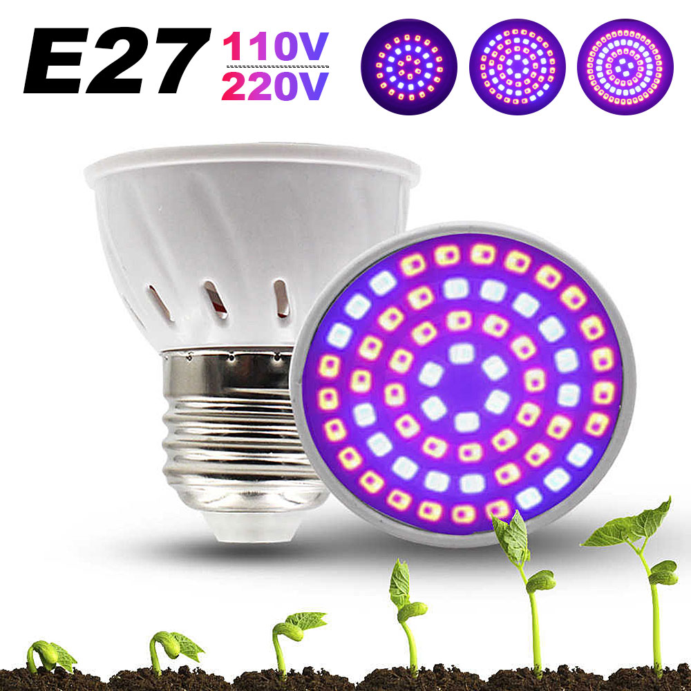 Full Spectrum LED Grow Light Bulbs E27 110V 220V LED Plant Grow Light Bulb 4W UV Lamp Plant Flower Seedling Fitolamp Phyto Lamp