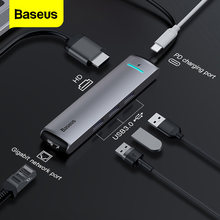 Baseus usb c hub tipo c hub para hdmi rj45 ethernet multi usb 3.0 porta pd adaptador de alimentação para macbook pro doca USB-C divisor hub