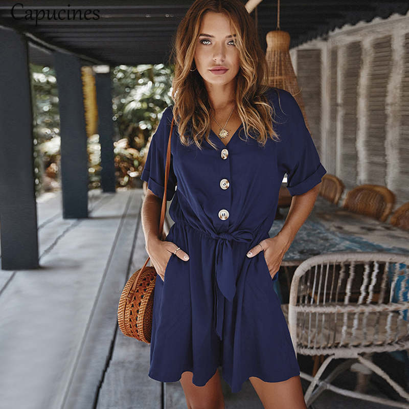 Capucines Knot Front V Neck Buttons Rompers Women Summer Short Sleeve Beach Vacation Casual Loose Jumpsuit Plus Size Playsuits