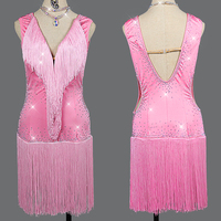 New Latin Dance Dress Pink Fringed Skirt Competition Performance Clothing Female Professional Customize Dance Dress Girls BL2810
