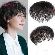 Closure-Clip Hair-Pieces Synthetic-Hair Real-Topper Wig Brown Black Natural Women HUAYA