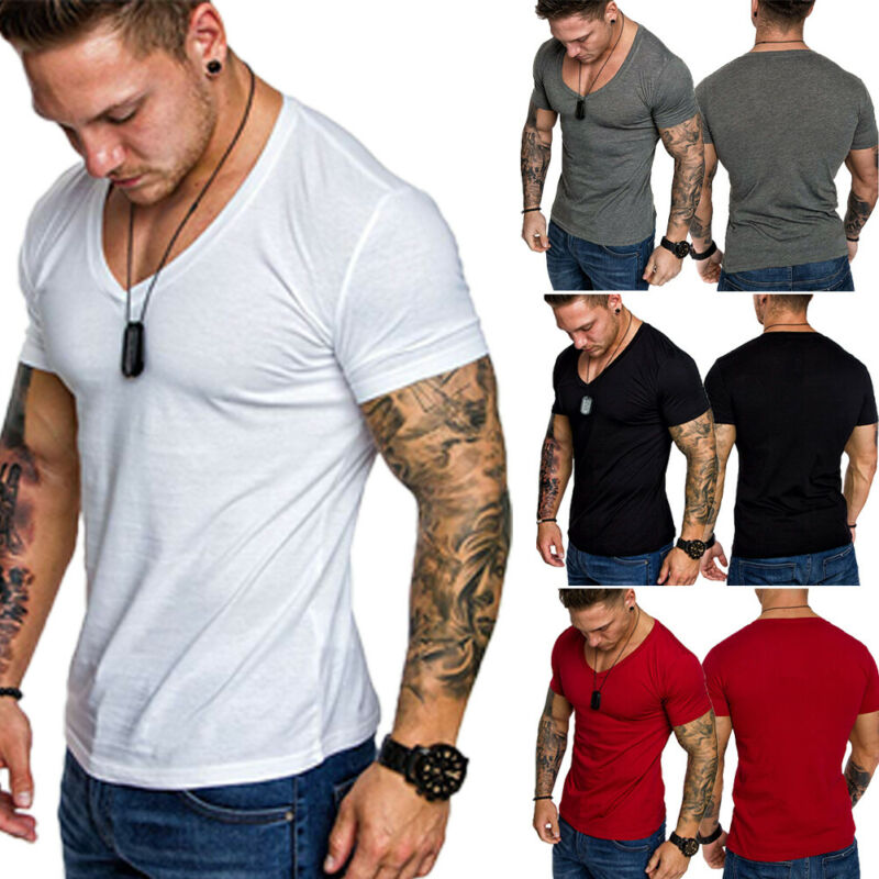 IMCUTE 2019 Fashion Men T-shirt Slim Fit Custom T-shirt Fold Long Design Trendy Luxury V-neck T-shirt Fitness Tee Homme T-Shirt