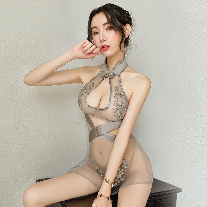 Qipao Traditional Cheongsam Babydoll Lingerie Party Nightclub Uniforms Jacquard Mesh See Through Sexy Chinese Split Mini Dresses
