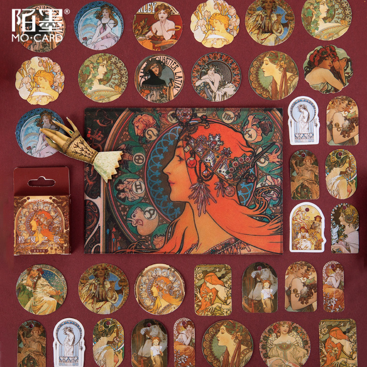 Alphonse Maria Mucha's Song Series Paper Small Diary Mini Cute Box Stickers Set Scrapbooking Kawaii Flakes Journal Stationery