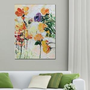 Image 2 - Бесплатная доставка, Дешевые 100% ручная роспись, Современный домашний декор, настенная живопись, много цветов, толстая палитра, нож, картина маслом на холсте