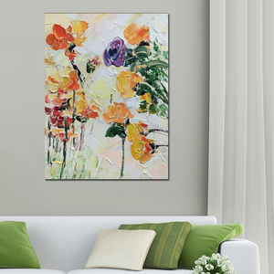 Image 2 - Free shipping cheap 100% Hand painted modern home decor wall art picture many flowers thick palette knife oil painting on canvas