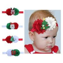 цена 2019 New Christmas Red Green White Chiffon Flower Santa Claus Christmas Tree Hat Elk Gift Shining Baby Headband Hair Accessories онлайн в 2017 году