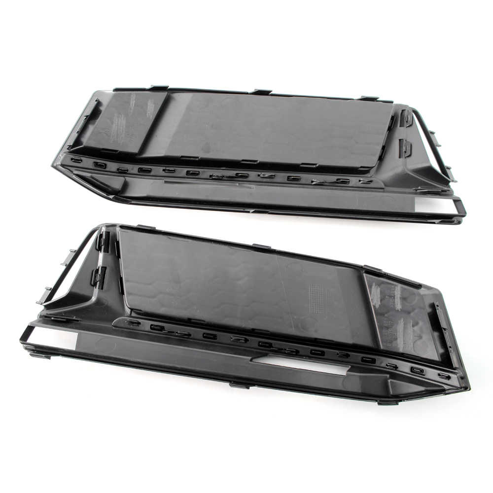 A Pair of Chrome Fog Light Cover Grille Black/ Silver Trim Grill Bezel Fit For AUDI A4 S4 S-Line B9 2016-18 with Honeycomb Style