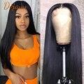 Прямые фронтальные парики на сетке, натуральные человеческие волосы, предварительно выщипанные Детские волосы, бразильские натуральные че...