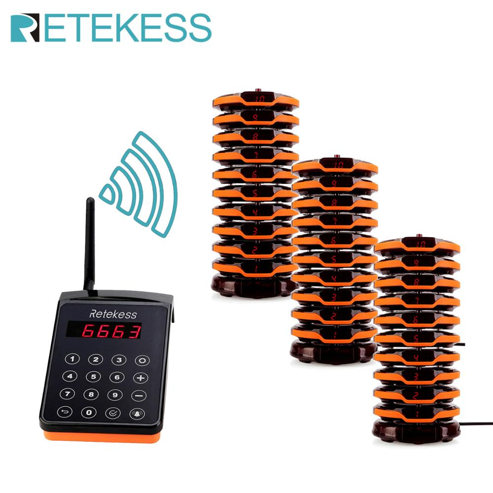 RETEKESS Restaurant Pager Wireless Queue Calling System Waiter Calling System With 30 Pagers For Restaurant Church Coffee Shop