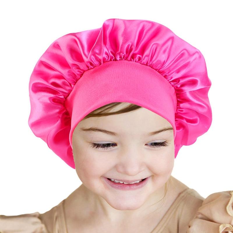 Baby Silky Satin Solid Wide-brimmed Sleeping Hat Girl Night Sleep Cap Hair Care Bonnet Nightcap For Children Unisex Cap Bonnet