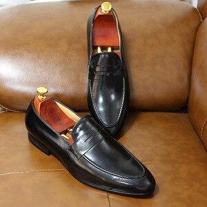 Image 2 - FELIX CHUผู้ชายPenny Loafersรองเท้าหนังของแท้หนังElegant Wedding PARTY Casualรองเท้าบุรุษสีน้ำตาลมือวาดรองเท้า
