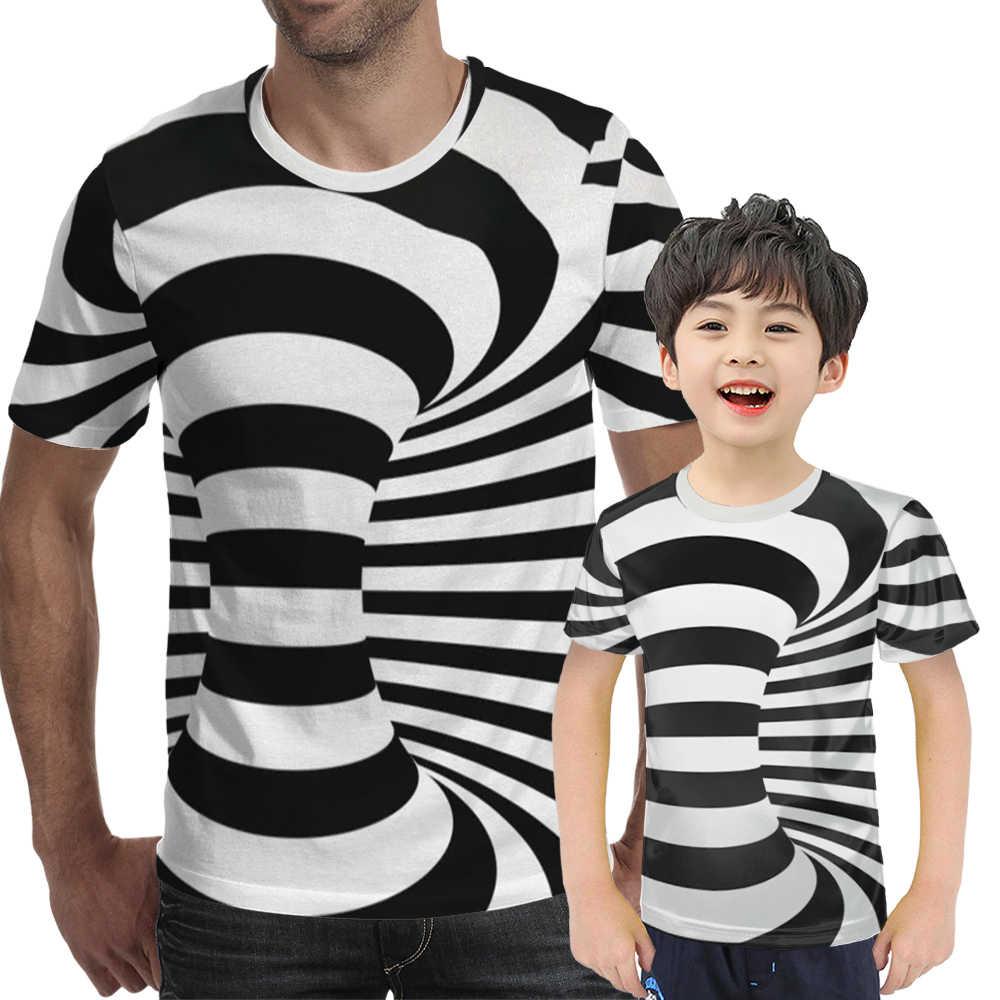 黒と白の渦催眠3Dプリントtシャツ男性の楽しい半袖ヒップホップtシャツ特大トレーナーk100-4XL