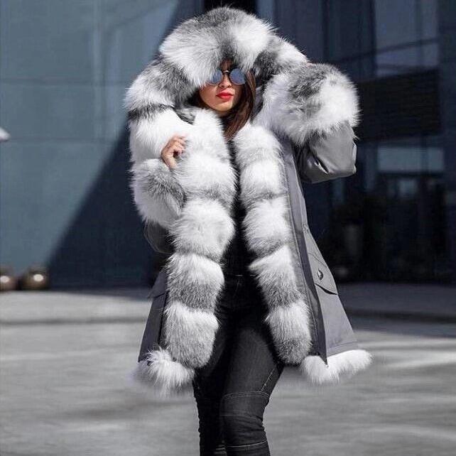 New Style Big Wool Collar Winter Coat Women Fashion Warm Woman Coats Casual Hooded Camouflage Print Jacket Coat Female