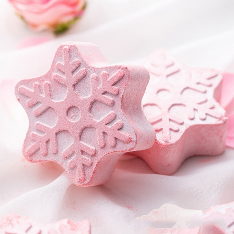 1pc Snowflake Bath Salt Bath Ball Body Skin Whitening Ease Relax Stress Relief Natural Bubble Shower Bombs Ball Body Cleaner *