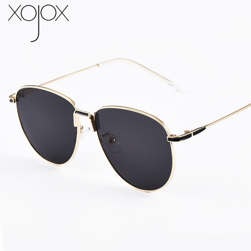 XojoX Fashion Oval Sunglasses Men Luxury Brand Design Oversized Sun Glasses Women Vintage Metal Frame Eyeglasses UV400 Mirror