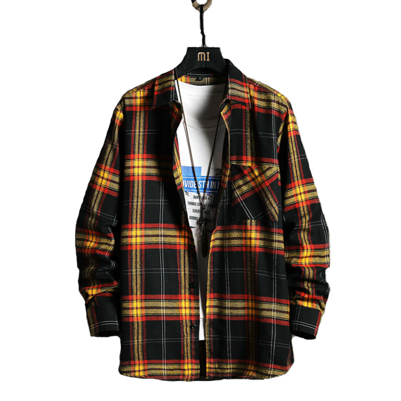 Style Brand Cotton Plaid Casual Shirt Male Fashion Autumn Long Sleeve Tops Streetwear Korean Japanese Shirts Men