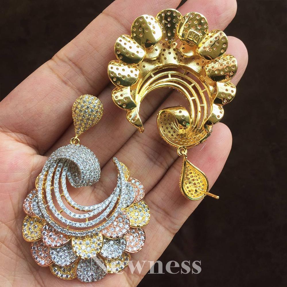 Nouveauté exquise fleur forme Super cubique Zircon pour bijoux femmes amoureux fiançailles largeur boucles d'oreilles mode bijoux cadeau - 2