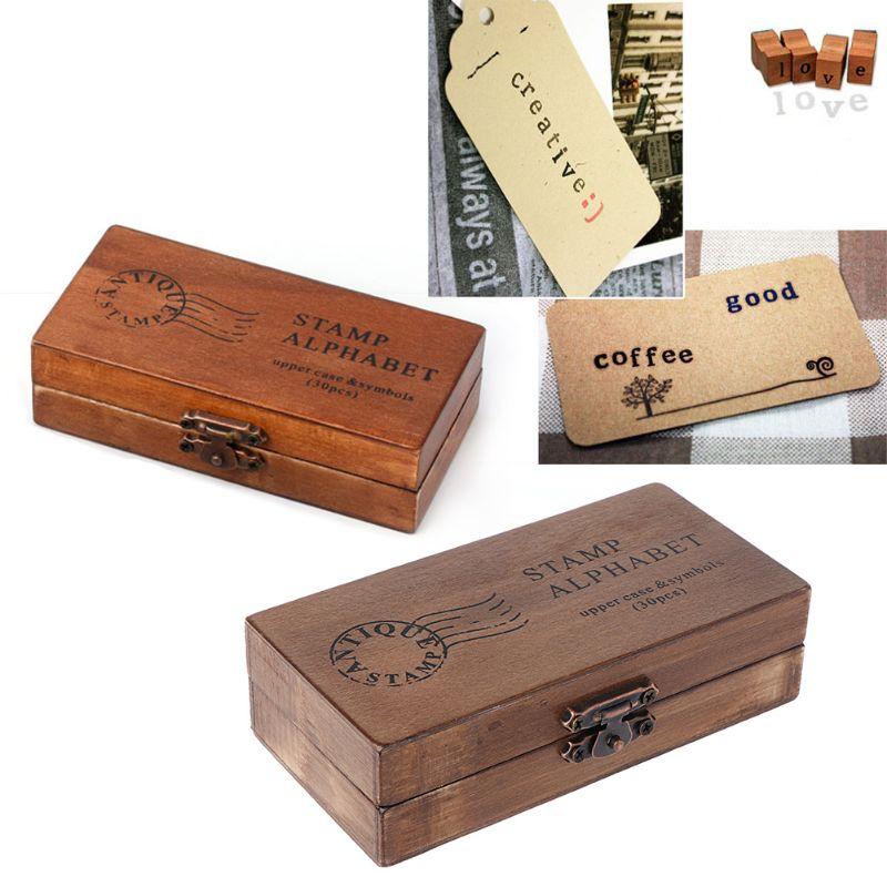 30pcs Retro Alphabet Letter Uppercase Lowercase Wooden Rubber Stamp Set Craft D08F