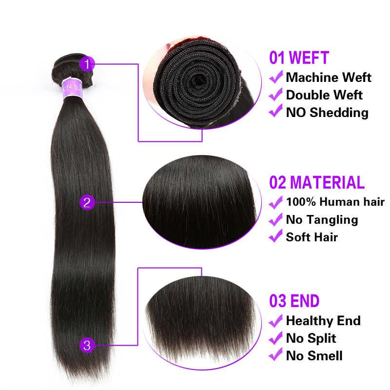Cranberry Haar Maleisische Haar Steil Haar Bundels Met Frontale Sluiting 100% Remy Human Hair Sluiting Frontale Met Bundels Deal