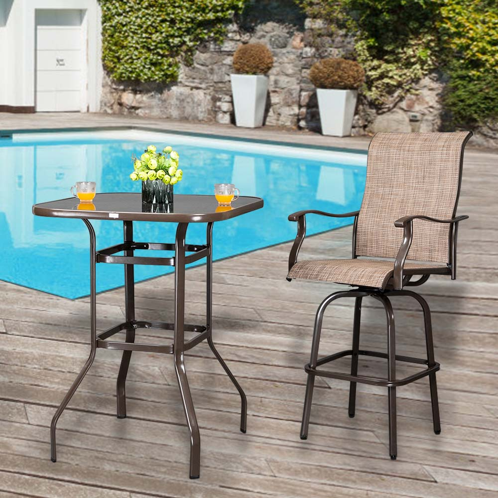 【US Warehouse】2pcs Wrought Iron Swivel Bar Chair Patio Swivel Bar Stools Brown (Bar Supplies)