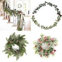Weihnachten Kranz Barries Kegel Künstliche Vine Hänge Floral Laub Girlande Weihnachten Dekorationen für Home Navidad Natal 2020