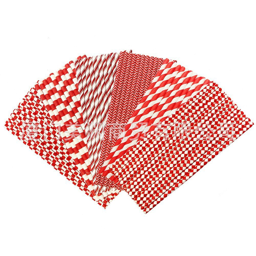 Foreign Trade Environmentally Friendly Simple Creative Party Wedding Festival Products New Year Red Disposable Paper Straw